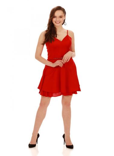 6ixty8ight Kırmızı Krep Beli Boncuk İşlemeli Kısa Abiye Elbise Kırmızı